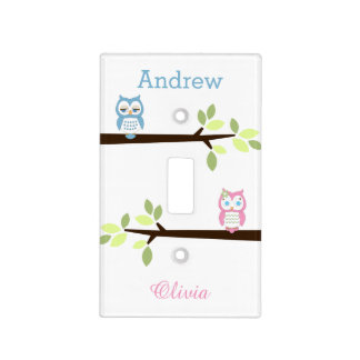 Pink Blue Whimsical Owl Twins Light Switch Cover