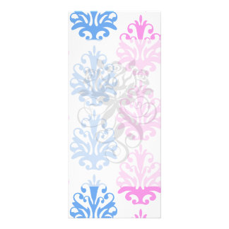 pink blue white damask rack card template
