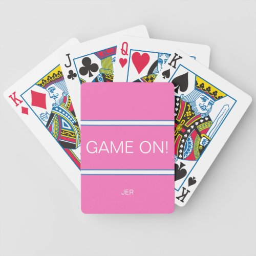 Pink Blue  White GAME ON Quote Monogrammed Bicycle Playing Cards