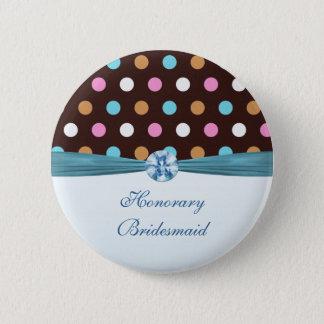 Pink, blue, white polka dot Honorary Bridesmaid Button