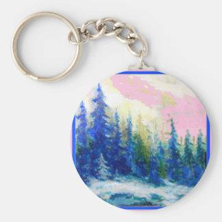 Pink-Blue Winter Forest Landscape Keychain