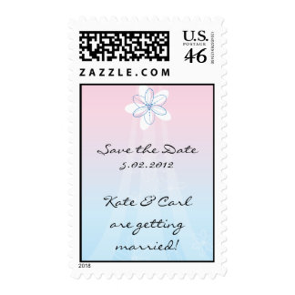 Pink & Blue with Flowers Postage