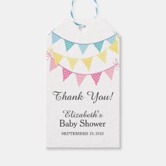 Pink, Blue & Yellow Bunting Baby Shower Thank You Gift Tags