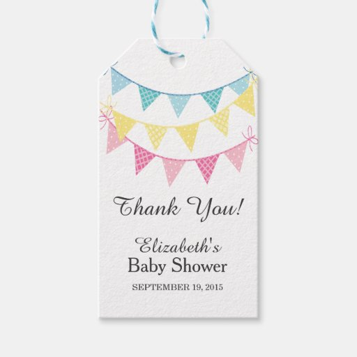 Pink Blue Amp Yellow Bunting Baby Shower Thank You Gift