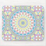 Pink, Blue, Yellow & Green Kaleidoscope Pattern Mouse Pad
