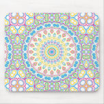 Pink, Blue, Yellow & Green Kaleidoscope Pattern Mouse Pad