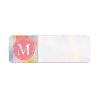 Pink Blue Yellow Monogram Pixels Label