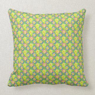Pink, Blue, Yellow on Green Primroses Pattern Throw Pillow