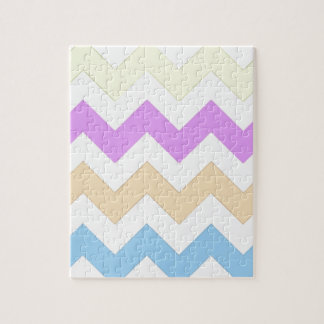 pink, blue, yellow pastel color zigzag strips jigsaw puzzles