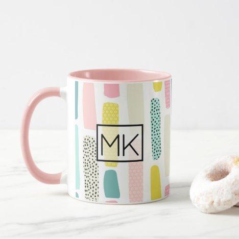 Pink, Blue yellow Pastel Paintbrush Coffee Mug