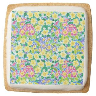 Pink, Blue, Yellow Primroses Shortbread Cookies Square Premium Shortbread Cookie
