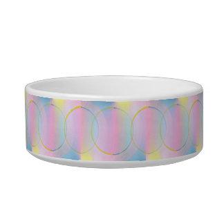 Pink Blue Yellow Spheres & Circles, Pet Dish Cat Food Bowls