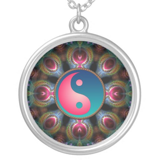 Pink Blue Yin Yang Fractal Energy Necklace