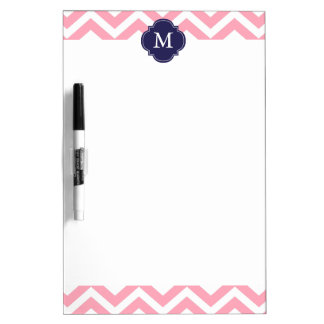 Pink & Blue Zigzags Pattern Monogram Dry-Erase Boards