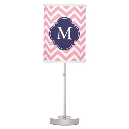 Pink & Blue Zigzags Pattern Monogrammed Desk Lamp