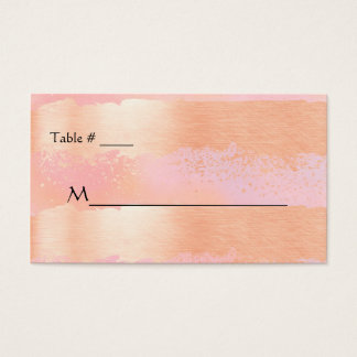Pink Blush and Gold Romance Wedding Place Card