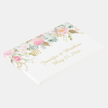 Pink Blush and Gold Watercolor Flowers Guest Book