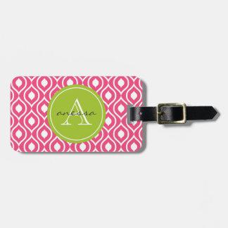 Pink Blush and Green Apple Gail Print Bag Tag