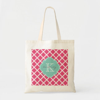 Pink Blush and Mint Moroccan Quatrefoil Monogam Tote Bag