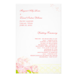 Pink Blush Blossoms Floral Wedding Program