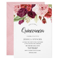 Pink Blush & Burgundy Flowers Quinceanera Invite