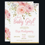 "Pink Blush Floral Baby Shower Invitation Girl<br><div class=""desc"">Celebrate the upcoming arrival of your new bundle of joy iwith our chic Blush Pink Watercolor Floral Baby Shower invitation. Featuring beautiful blush and pink watercolor flowers. Personalize this gorgeous invitation with your party details easily and quickly, simply press the customise it button to further re-arrange and format the style...</div>"