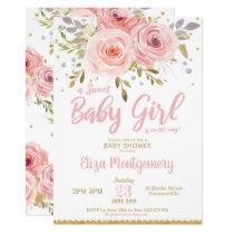 Pink Blush Floral Baby Shower Invitation Girl