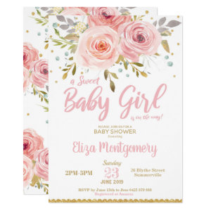 Pink Blush Floral Baby Shower Invitation Girl