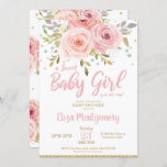 """Pink Blush Floral Baby Shower Invitation Girl<br><div class=""""desc"""">Celebrate the upcoming arrival of your new bundle of joy iwith our chic Blush Pink Watercolor Floral Baby Shower invitation. Featuring beautiful blush and pink watercolor flowers. Personalize this gorgeous invitation with your party details easily and quickly, simply press the customize it button to further re-arrange and format the style...</div>"""