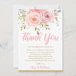 Pink Blush Floral Baby Shower Thank You Card