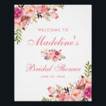 "Pink Blush Floral Bridal Shower Welcome Poster<br><div class=""desc"">Watercolor Pink Blush Floral Bridal Shower Welcome Poster</div>"