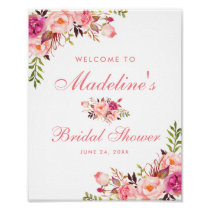 Pink Blush Floral Bridal Shower Welcome Poster