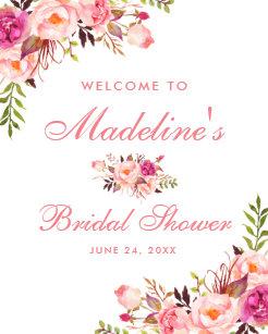pink blush floral bridal shower welcome poster