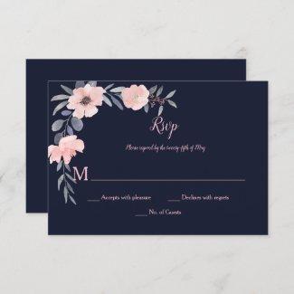 Pink Blush Floral Drop - Navy - Wedding | RSVP Card
