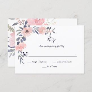 Pink Blush Floral Drop - White - Wedding | RSVP Card