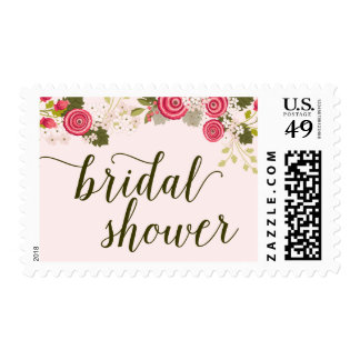 Pink Blush Floral Garden Bridal Shower Postage