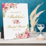 "Pink Blush Floral Gold Bridal Shower Welcome Plaque<br><div class=""desc"">Watercolor Pink Blush Floral Gold Bridal Shower Welcome Plaque</div>"