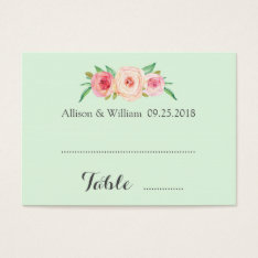 Pink Blush Floral Mint Place Setting Cards at Zazzle