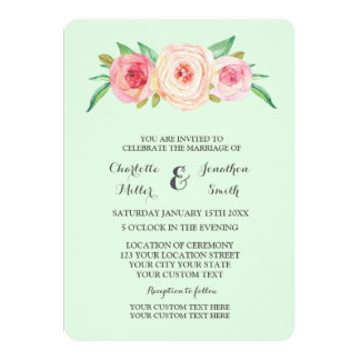 Peach Pink And Mint Wedding Invitations Announcements Zazzle