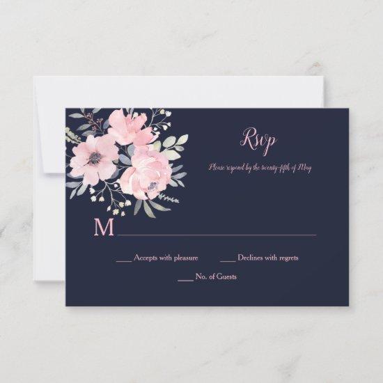 Pink Blush Floral - Navy - Wedding | RSVP Card