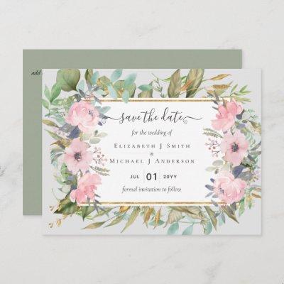 Pink Blush Floral Sage Greenery Save Dates Postcard
