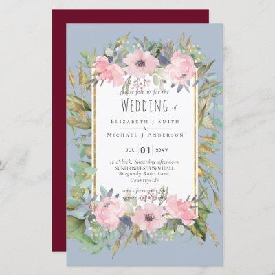 Pink Blush Floral Sage Greenery Wedding