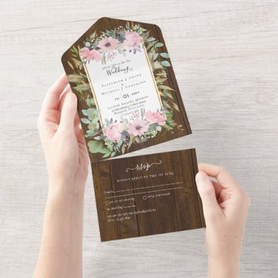 Pink Blush Floral Sage Greenery Wedding All In One Invitation