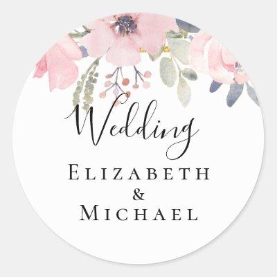 Pink Blush Floral Sage Greenery Wedding Classic Round Sticker