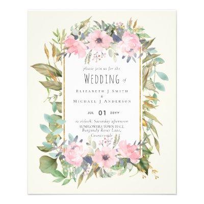 Pink Blush Floral Sage Greenery Wedding Flyer
