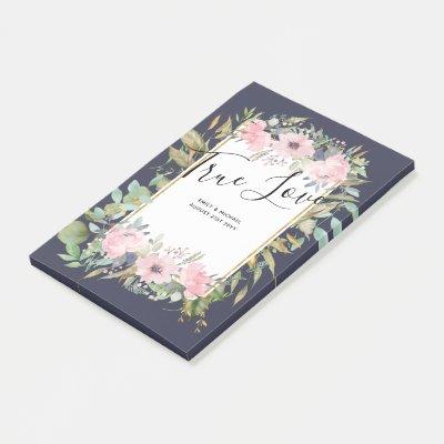 Pink Blush Floral Sage Greenery Wedding Post-it Notes