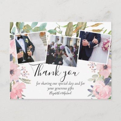 Pink Blush Floral Sage Greenery Wedding Postcard