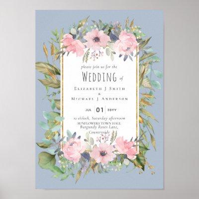 Pink Blush Floral Sage Greenery Wedding Poster