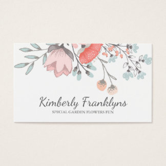 Pink Blush Floral Vintage Whimsical Garden Business Card