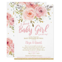 Pink Blush Floral Virtual Baby Shower by Mail Girl Invitation